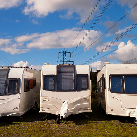 Caravans parked up to depict Caravan insurance by Find Insurance NI