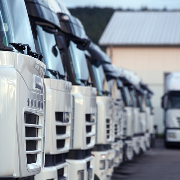 Lorries lined up in depot to depict commercial vehicle insurance by Find Insurance NI